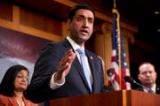 Rep. Ro Khanna, D-Calif., speaks at a news conference on Capitol Hill in Washington, Wednesday, Jan. 30, 2019. Khanna has introduced a House bill that would ban the use of federal funds for military action against Iran not authorized by Congress.