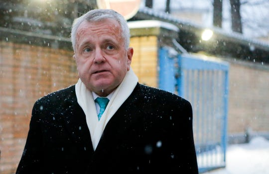 The new U.S. Ambassador to Russia,  John Sullivan, speaks to the news media after visiting Paul Whelan, a Novi man who was arrested for alleged spying in Moscow.