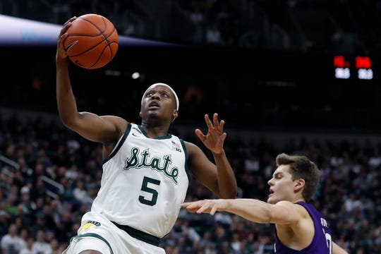 Cassius Winston has been shooting baskets with his brother Khy at the Breslin Center during the pandemic.