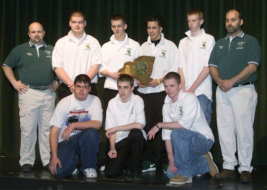 The Southside 2005 state champion boys bowling team. Front row, left to right: Tim Wojtyna, Joe Fulkrod, Don Cook. Second row: assistant coach Tom Taylor, Gregg Fish, Chris Heuser, Jordan D'Angelo, Cody Marshall, head coach Dwayne Bolt.