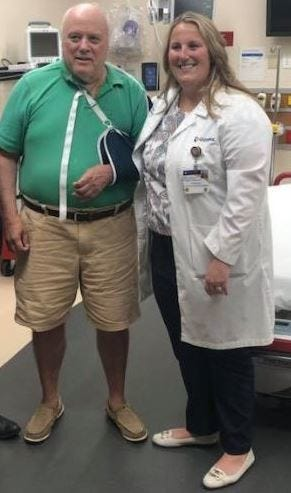 Gary Crandell, left, and Dr. Beth Linkenheil, emergency physician at Guthrie Robert Packer Hospital, discuss the heart attack Crandell suffered while at Tioga Downs Casino Resort and the timely care he received upon arrival at Guthrie's emergency department.