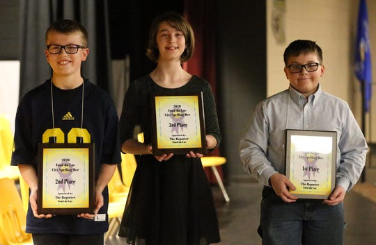 Winners of the 2020 citywide spelling bee Wednesday, January 29, 2020, at Thiesen Middle School in Fond du Lac, Wis., are from left, Hunter King of Theisen, who took second place; Koreanna Klausen of Woodworth Middle School, who took third place; and David Grunewald of St. Peter's Lutheran, who finished first. Thirty-eight students from 19 city schools in the City of Fond du Lac participated in the 44th annual spelling bee.