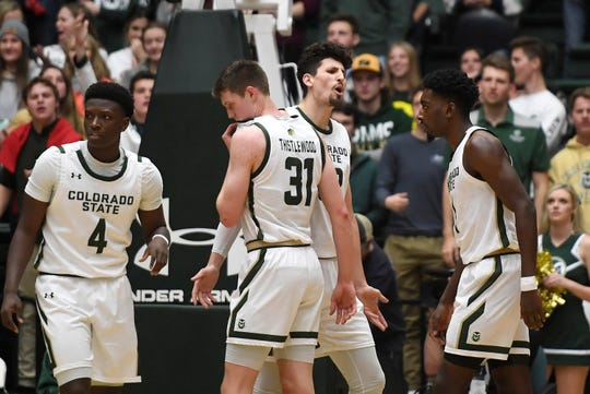 Colorado State Rams center Nico Carvacho (32) reacts to a call during the second half of the game against Nevada at Moby Arena at Colorado State University in Fort Collins, Colo. on Wednesday, January 29, 2020.