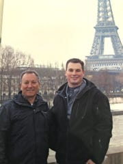 "This undated photo made available by the Modell family, shows Ryan Modell, right, as he visits Paris with his father Sandy Modell. Sandy Modell is asking Florida Gov. Ron DeSantis to reopen the investigation into his son's 2016 shooting death during an altercation at Ryan's south Lee County condominium complex. Local prosecutors declined to charge the shooter, Steve Taylor, citing the state's ""stand your ground"" law, a decision Sandy Modell wants reversed."