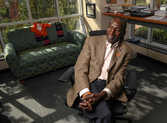 Lee Gill, Clemson University Chief Diversity Officer, listens to a question during an interview January 30, 2020. Gill talked about The National Men of Color Summit in his office on campus.