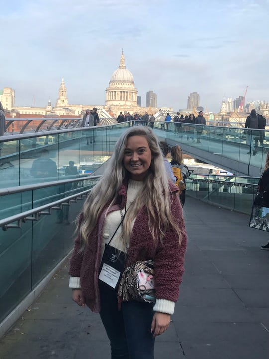 Henderson County resident Bailey Newman, 18, does some sightseeing in London while there to perform in a New Year's Day parade (Jan. 2020).