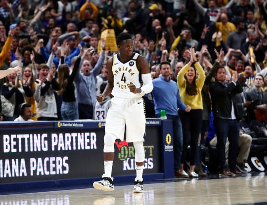 Indiana Pacers fans respond to Victor Oladipo's tying 3-pointer in the closing seconds of regulation against the Chicago Bulls on Jan. 29, 2020