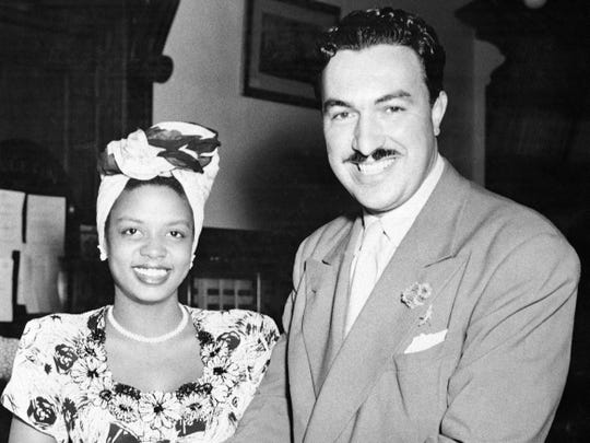 In this 1945 photo, Hazel Scott is seen with her future husband, U.S. Rep. Adam Clayton Powell.