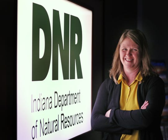 Amanda Wuestefeld, seen in the DNR offices, Thursday, Jan. 30, 2020, is the new director of the Indiana DNR Division of Fish and Wildlife.