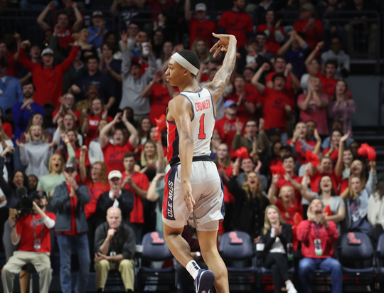 Ole Miss freshman guard Austin Crowley celebrates after a made shot.