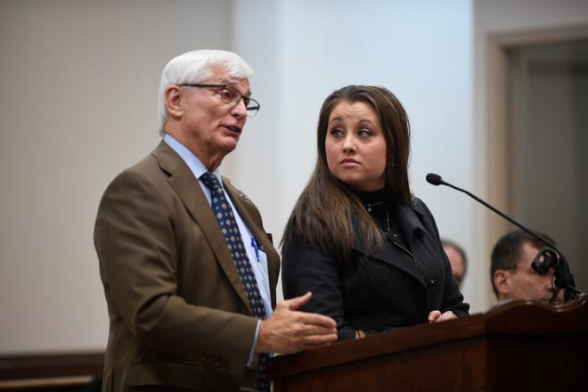 Jessica Conger appears in court with her lawyer William Massey in Jackson City Court in Jackson, Tenn., Thursday, Jan. 30, 2020.