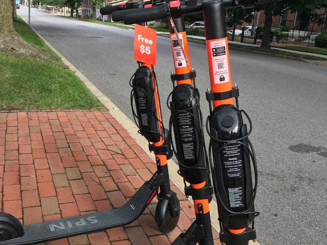 Electric scooters from Spin were deployed in Lafayette in 2019. The city is considering a new set of permit fees and regulations for when scooters return to Lafayette streets in 2020.