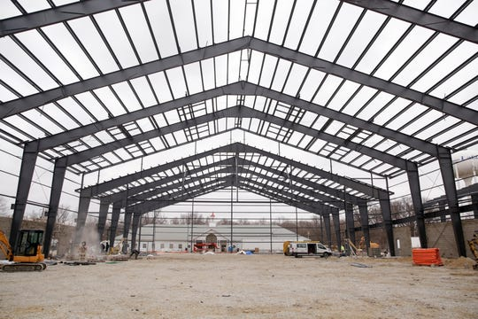 Construction continues on the new colusium at the Tippecanoe County Fairgrounds, Thursday, Jan. 30, 2020, in Lafayette.
