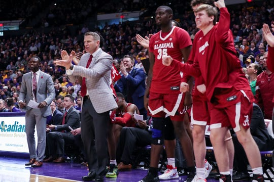 Jan 29, 2020; Baton Rouge, Louisiana, USA; Alabama Crimson Tide head coach Nate Oats reacts to a play against LSU Tigers in the second half at Maravich Assembly Center. Mandatory Credit: Stephen Lew-USA TODAY Sports