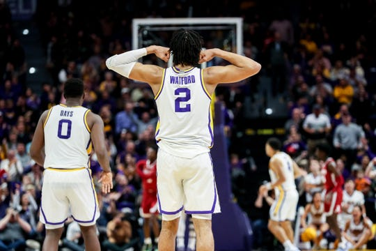 Jan 29, 2020; Baton Rouge, Louisiana, USA; LSU Tigers forward Trendon Watford (2) reacts to a play against Alabama Crimson Tide at Maravich Assembly Center.