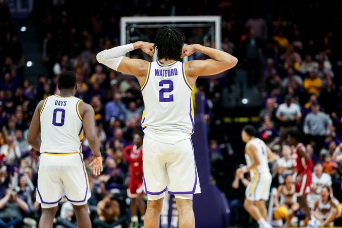 Jan 29, 2020; Baton Rouge, Louisiana, USA; LSU Tigers forward Trendon Watford (2) reacts to a play against Alabama Crimson Tide n the second half at Maravich Assembly Center. Mandatory Credit: Stephen Lew-USA TODAY Sports