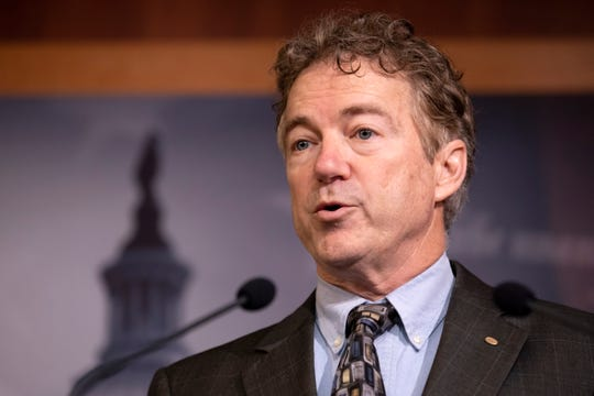 Sen. Rand Paul, R-Ky., speaks during a news conference on Capitol Hill in Washington, Thursday, Jan. 30, 2020, during the impeachment trial of President Donald Trump on charges of abuse of power and obstruction of Congress. (AP Photo/ Jacquelyn Martin)