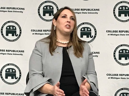 Republican National Committee Chairwoman Ronna McDaniel spoke Wednesday at MSU.