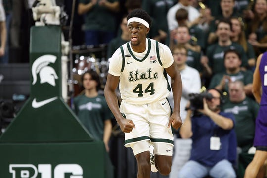 Jan 29, 2020; East Lansing, Michigan, USA;  Michigan State Spartans forward Gabe Brown (44) reacts during the first half a game against the Northwestern Wildcats at the Breslin Center. Mandatory Credit: Mike Carter-USA TODAY Sports