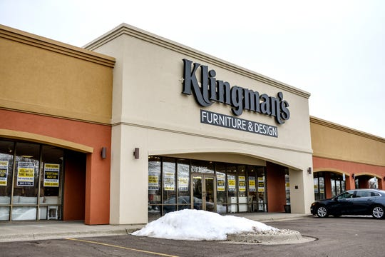 The Klingman's Furniture and Design store at 6025 W. Saginaw Hwy, in Lansing, photographed on Thursday, Jan. 30, 2020, is closing its doors.