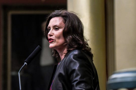 Michigan Gov. Gretchen Whitmer delivers her State of the State address on Wednesday, Jan. 29, 2020, at the Michigan State Capitol in Lansing.