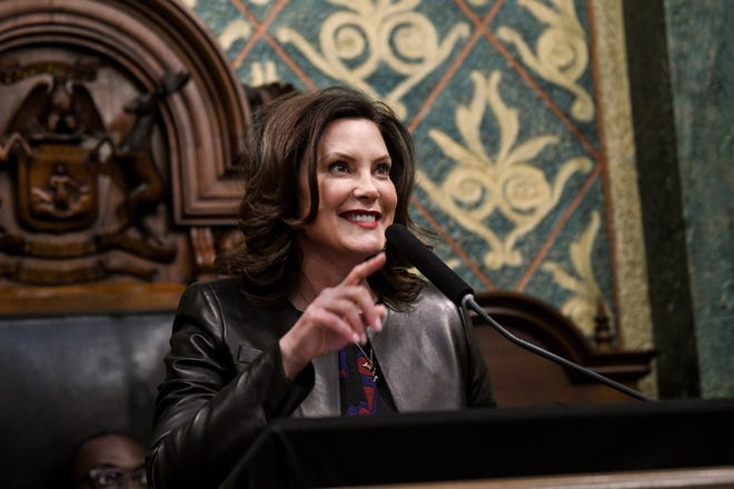 Michigan Gov. Gretchen Whitmer delivers her State of the State address on Wednesday, Jan. 29, 2020, at the Michigan State Capitol in Lansing. During her speech, Whitmer announced work to bring universal pre-K to school districts with low test scores and high poverty.