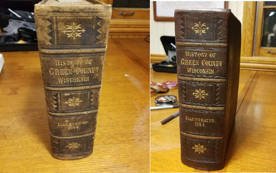 Before (left) and after photos show the restoration of a historic book.