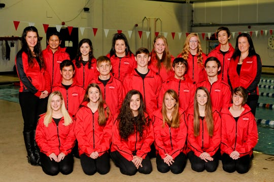 The Crestview swim team, flanked by diving coach Mindy McPherran (back left) and swim coach Misty Santarossa (back right)