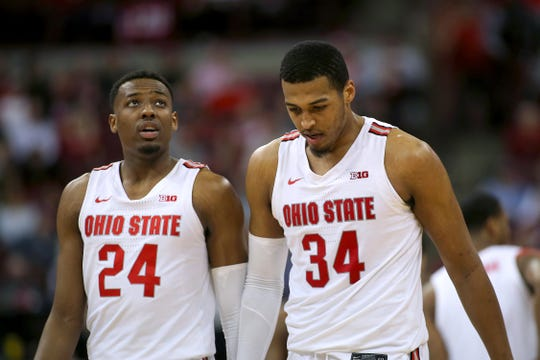 Ohio State Buckeyes forward Kaleb Wesson (34) and forward Andre Wesson (24) walk away dejected during the second half against the Minnesota Golden Gophers at Value City Arena last week.