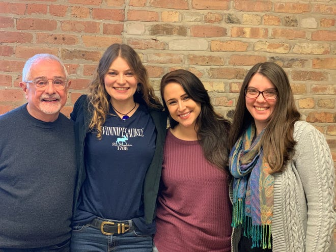 """Robert Spencer, director Kayleigh Kitzman, Hannah Shay and playwright Erica Berman pause during rehearsal for """"No Wake,"""" Milwaukee Chamber Theatre's new production. Performances begin Feb. 21."""