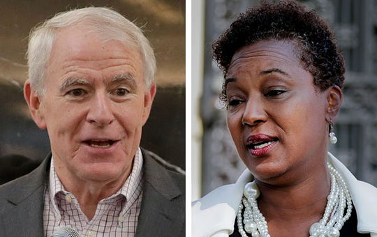 Mayor Tom Barrett, left, and State Sen. Lena Taylor, right.