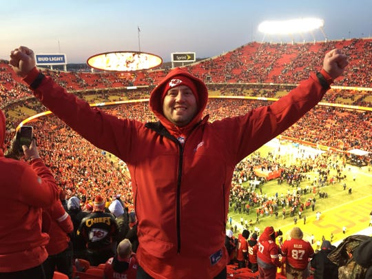 Chiefs fan Josh Kingsley  went to the AFC championship game Jan. 19  in Kansas City.