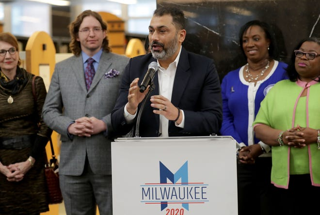 In this file photo from January 2020, Pardeep Kaleka, executive director of the Interfaith Conference of Greater Milwaukee, speaks at a news conference.