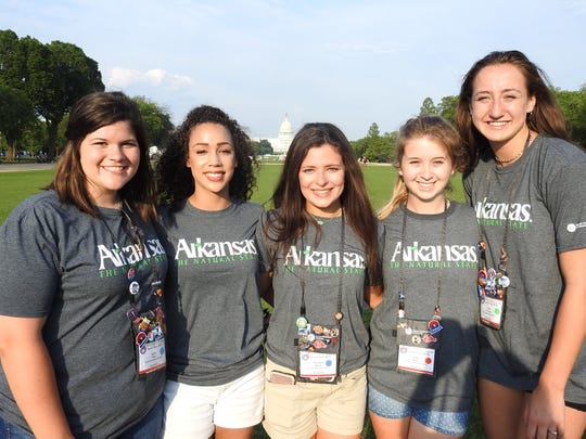 North Arkansas Electric Cooperative's 2019 Youth Tour delegates (from left) Anna Neal, Katherine Newman, Ashlynn Martin, Abby Martin and Anna Grace Foreman explore the National Mall.