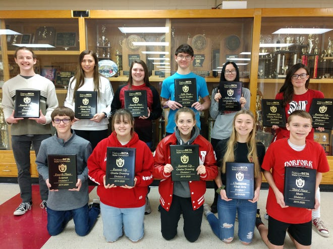 On Jan. 24 and Jan. 25, the Norfork Senior Beta attended the State Beta Convention in Hot Springs. There were more than 4,800 students in attendance.  While there, students participated in a variety of academic and talent contests. Norfork placed in 13 categories. Shown above are (back row, from left) Andrew Ruegsegger, 4th Place Poetry Division 2; Mackynzie Rangel, 2nd place Fiber Arts Division 2; Riley Moody, 4th place Color Photography Division1; Elliott Ruegsegger, 5th Place Social Studies 10th grade; Mabry Bryant, 5th place Language Arts 9th grade; Trinity McFall 2nd Place Onsite Painting Division 1 and 2nd Place Mixed Media Division 1; (front row, from left) Trakker Estes, 4th place Science 10th Grade; Lacey Clark, 2nd place Onsite Drawing Division 2; Kylie Manes, 2nd place Onsite Drawing Division 1; Amber Weber, 1st place Fiber Arts Division 1 and Jessie Maple, 3rd place Math 9th grade. Not pictured are Olivia Gonzalez, 1st place Spanish 12th grade. These students qualified to compete at the National Beta Convention in Fort Worth, Texas, on June 15-18. Club sponsors are Amy Branscum and Brandy Hughes.