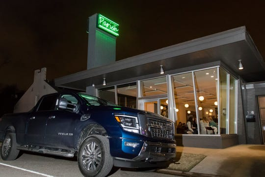 A new 2020 Nissan Titan XD sits parked outside of Cory Bahr's restaurant, Parish, which hosted auto trade media and Nissan executives to celebrate the completion of the 2020 Nissan Titan XD Adventure Southern Hospitality Tour in Monroe, La. on Jan. 29. The tour was a way for auto media to get hands on experience with the newly launched vehicle.