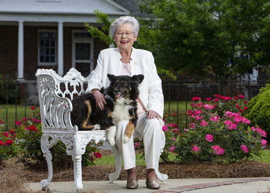 """This photo provided by the Office of Alabama Gov. Kay Ivey, shows Ivey and her dog Missy. Ivey fractured her shoulder after being tripped by the state's """"first dog,"""" her office said Wednesday, Jan. 29, 2020. The rescue pooch unintentionally tripped the governor at home Tuesday night, Ivey's office said."""