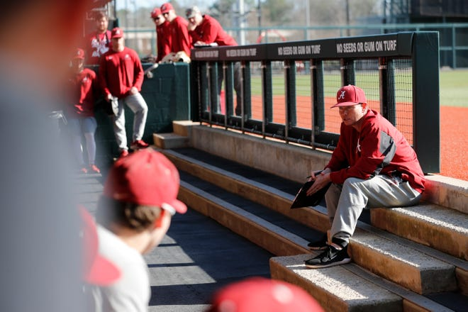 Alabama head baseball coach Brad Bohannon speaks to his team ahead of a recent preseason practice Jan. 24, 2020 inside Sewell-Thomas Stadium in Tuscaloosa. (Photo by Jeff Hanson/Alabama athletics)