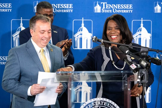 "Predators President and CEO Sean Henry and Tennessee State University President Glenda Glover announce their ""$1 Million in One Month"" campaign Thursday."