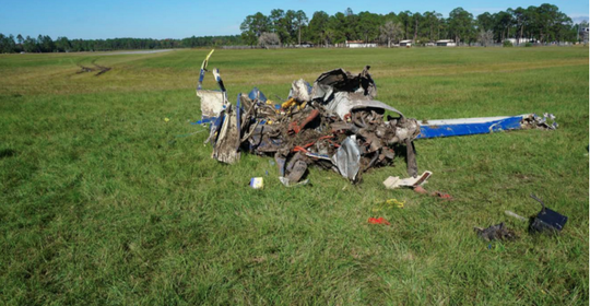Herman Steele's airplane as found in a field at Camp Blanding, Nov. 23, 2017, after crashes en route to Cecil Airport