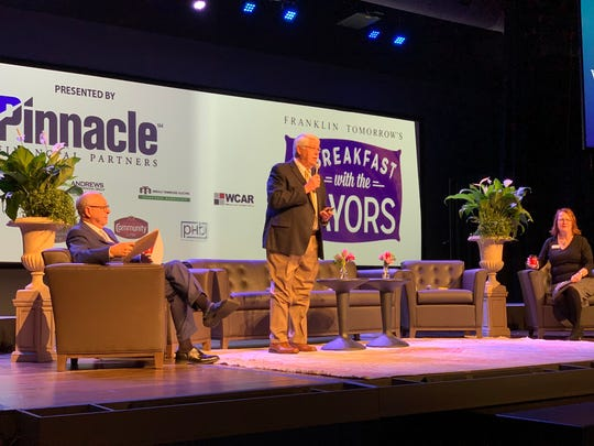 """Franklin Mayor Ken Moore, left, Williamson County Mayor Rogers Anderson and Franklin Tomorrow Executive Director Mindy Tate participate in Franklin Tomorrow's quarterly """"Breakfast with the Mayors"""" on Tuesday, Jan. 28, 2020."""