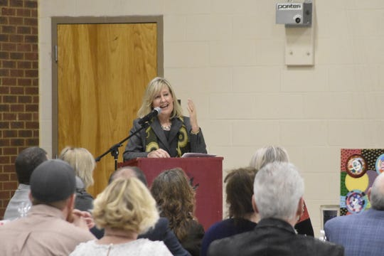 Cheatham County Director of Schools Cathy Beck delivers the second annual State of the District speech on Tuesday, Jan. 28.