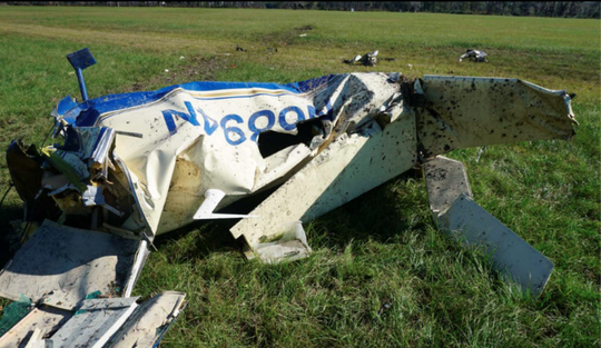 The 2017 crash split the airplane in two, this is the crumpled tail section.