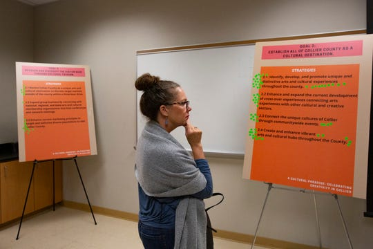 Carrie Fuller looks over various goals and strategies for the Collier County arts and culture scene before placing a sticker by one she favors, Tuesday, Jan. 29, 2020, at Florida Gulf Coast University's Kapnick Center at Naples Botanical Garden.