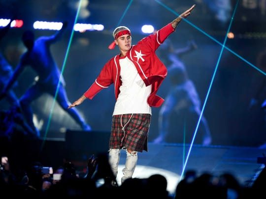 Justin Bieber performs during the Purpose World Tour at the Bridgestone Arena, Monday, June 27, 2016, in Nashville, Tennessee.