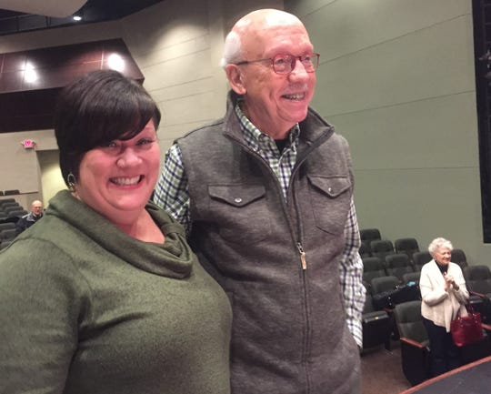 Susan Larson was surprised by news of the award by Bob Cochran, Chief of the Education Committee of the Columbus Symphony, as well as several other symphony representatives, during a recent rehearsal with student musicians at the Reese Center.