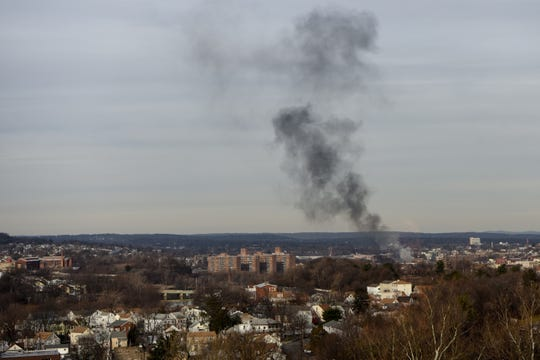 Smoke hangs above Paterson after a vehicle ignited on Thursday January 30, 2020.