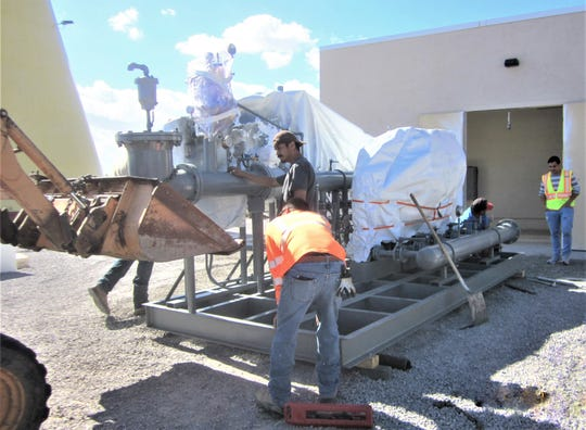 New booster pumps arriving at the LCU booster pump station on the West Mesa.