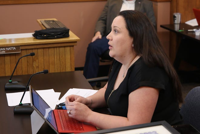 Eddy County Finance Director Roberta Smith presents the 2020 midyear budget to Eddy County Board of Commissioners Tuesday.