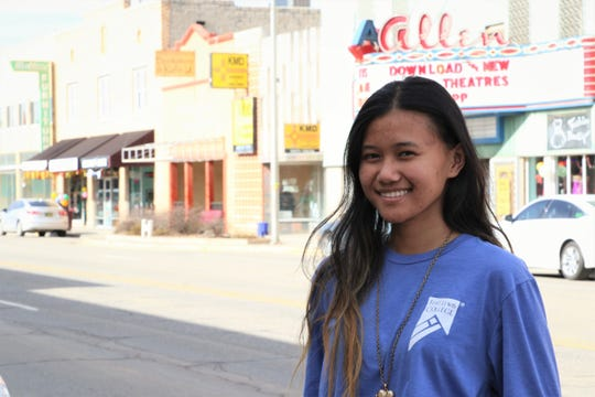 San Juan College High School's first graduate, Sepphora Llanes, in downtown Farmington on Jan. 29, 2020.